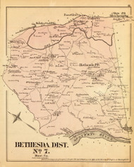 Bethesda District No. 7 - Bethesda, Linden Station, Forest Glen Station, etc., Maryland 1879 Old Map Reprint - Montgomery Co.