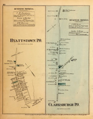 Hyattstown and Clarksburgh Villages, Maryland 1879 Old Map Reprint - Montgomery Co.