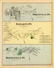 Poolesville, Damascus, and Barnesville Villages, Maryland 1879 Old Map Reprint - Montgomery Co.