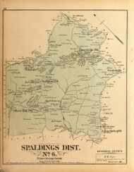 Spaldings District No. 6 - Silver Hill, Suitland, Oakland, Forestville, etc., Maryland 1879 Old Map Reprint - Prince George Co. (Montgomery MD Atlas)