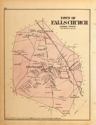 Falls Church Town, Virginia 1879 Old Map Reprint - Fairfax Co. (Montgomery MD Atlas)