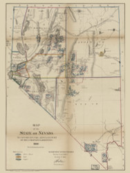 Nevada 1866 GLO - Old State Map Reprint