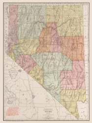 Nevada 1912 Rand - Old State Map Reprint