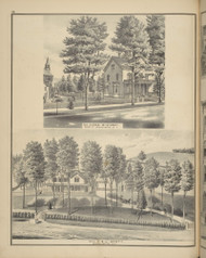 Residences of Chas. McKinney & S.L. Scott, New York 1876 - Old Town Map Reprint - Broome Co. Atlas 34