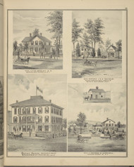 Residences of F.D. Gridley, G.H. Daniels & George W. Mitchell and Beach House, New York 1876 - Old Town Map Reprint - Broome Co. Atlas 61