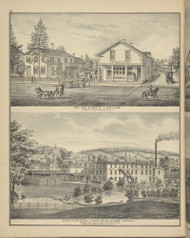 Residence & Store of A. Colins and Steam Planning Mill, New York 1876 - Old Town Map Reprint - Broome Co. Atlas 62