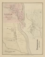 Lisle, Millburn, and Center Lislae Villages, New York 1876 - Old Town Map Reprint - Broome Co. Atlas 66