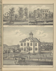 Residences of F. A. Potter & E. Johnson and Lisle Academy & Union School, New York 1876 - Old Town Map Reprint - Broome Co. Atlas 69