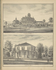 Residences of C.F. Pumpelly & S.F. Smith, New York 1876 - Old Town Map Reprint - Broome Co. Atlas 79