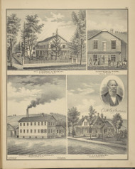 Residences of George Dusenbury & A..W Coburn, Dusenbury's Store and Factory of Coburn Whip Company, New York 1876 - Old Town Map Reprint - Broome Co. Atlas 107