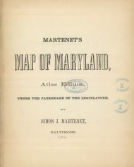 Title Page Martenet's Map of Maryland, Maryland 1866 Old Map Reprint 1