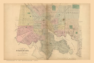 Baltimore City, Maryland 1866 Old Map Reprint 010-011