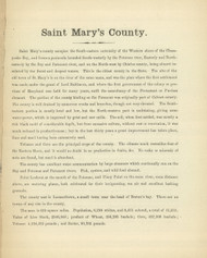 Saint Mary's County Text, Maryland 1866 Old Map Reprint 50