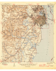 Mobile, Alabama 1944 (1944) USGS Old Topo Map Reprint 15x15 AL Quad 305631
