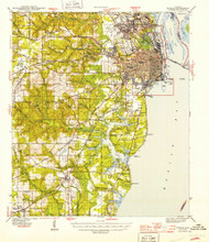 Mobile, Alabama 1944 (1944) USGS Old Topo Map Reprint 15x15 AL Quad 305632