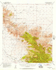Cochise Head, Arizona 1950 (1957) USGS Old Topo Map Reprint 15x15 AZ Quad 314501