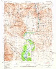 Davis Dam, Arizona 1950 (1966) USGS Old Topo Map Reprint 15x15 AZ Quad 320827