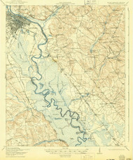 Augusta, Georgia 1921 (1943) USGS Old Topo Map Reprint 15x15 GA Quad 261785