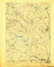 Blackstone, Massachusetts 1900 (1900) USGS Old Topo Map Reprint 15x15 MA Quad 352490