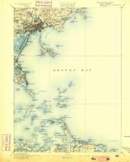 Boston Bay, Massachusetts 1892 (1900) USGS Old Topo Map Reprint 15x15 MA Quad 352521
