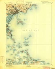 Boston Bay, Massachusetts 1892 (1901) USGS Old Topo Map Reprint 15x15 MA Quad 352523