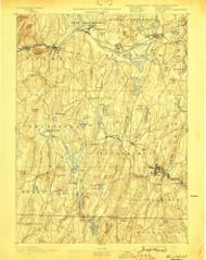 Brookfield, Massachusetts 1893 (1898) USGS Old Topo Map Reprint 15x15 MA Quad 352541