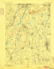 Dedham, Massachusetts 1894 (1905) USGS Old Topo Map Reprint 15x15 MA Quad 352579
