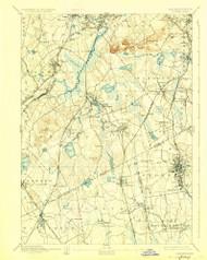 Dedham, Massachusetts 1894 (1927) USGS Old Topo Map Reprint 15x15 MA Quad 352584
