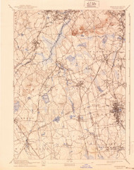 Dedham, Massachusetts 1894 (1940) USGS Old Topo Map Reprint 15x15 MA Quad 352573