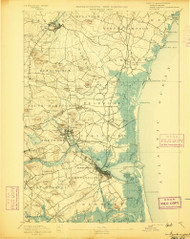 Exeter, New Hampshire 1894 (1894) USGS Old Topo Map Reprint 15x15 MA Quad 352891