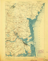 Exeter, New Hampshire 1894 (1908) USGS Old Topo Map Reprint 15x15 MA Quad 352893