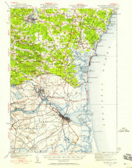 Exeter, New Hampshire 1932 (1958) USGS Old Topo Map Reprint 15x15 MA Quad 330030