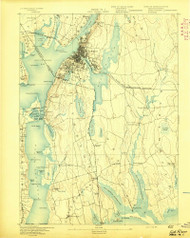 Fall River, Massachusetts 1893 (1893) USGS Old Topo Map Reprint 15x15 MA Quad 352615