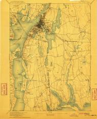 Fall River, Massachusetts 1893 (1911) USGS Old Topo Map Reprint 15x15 MA Quad 352619