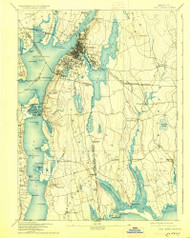Fall River, Massachusetts 1893 (1925) USGS Old Topo Map Reprint 15x15 MA Quad 352622