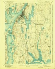 Fall River, Massachusetts 1893 (1941) USGS Old Topo Map Reprint 15x15 MA Quad 352612