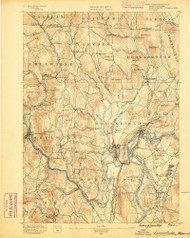 Grenfield, Massachusetts 1890 (1890) USGS Old Topo Map Reprint 15x15 MA Quad 352726
