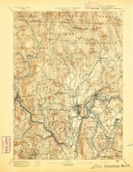 Grenfield, Massachusetts 1894 (1894) USGS Old Topo Map Reprint 15x15 MA Quad 352727