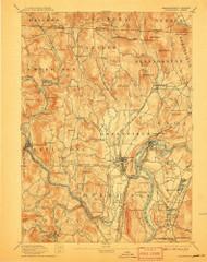 Grenfield, Massachusetts 1894 (1907) USGS Old Topo Map Reprint 15x15 MA Quad 352730