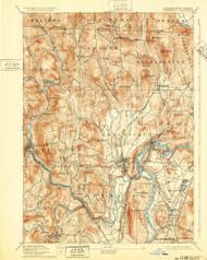 Grenfield, Massachusetts 1894 (1932) USGS Old Topo Map Reprint 15x15 MA Quad 352734