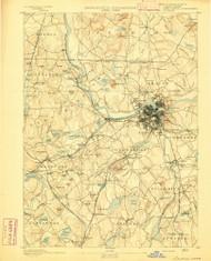 Lowell, Massachusetts 1893 (1893) USGS Old Topo Map Reprint 15x15 MA Quad 352805