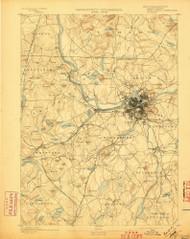 Lowell, Massachusetts 1893 (1897) USGS Old Topo Map Reprint 15x15 MA Quad 352806