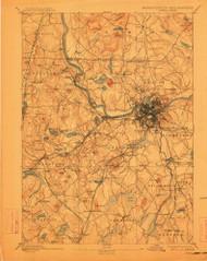 Lowell, Massachusetts 1893 (1912) USGS Old Topo Map Reprint 15x15 MA Quad 352810