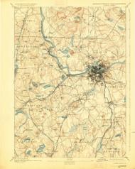 Lowell, Massachusetts 1893 (1925) USGS Old Topo Map Reprint 15x15 MA Quad 352815