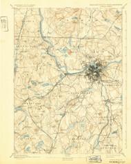 Lowell, Massachusetts 1893 (1932) USGS Old Topo Map Reprint 15x15 MA Quad 352816