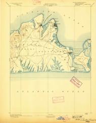 Marthas Vineyard, Massachusetts 1894 (1898) USGS Old Topo Map Reprint 15x15 MA Quad 352836