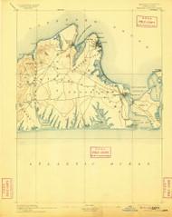 Marthas Vineyard, Massachusetts 1894 (1909) USGS Old Topo Map Reprint 15x15 MA Quad 352839
