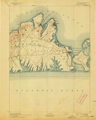 Marthas Vineyard, Massachusetts 1894 (1913) USGS Old Topo Map Reprint 15x15 MA Quad 352840