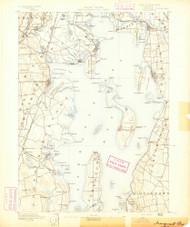 Narrangansett Bay, Rhode Island 1890 (1890) USGS Old Topo Map Reprint 15x15 MA Quad 353502