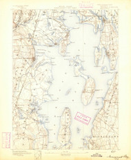Narrangansett Bay, Rhode Island 1892 (1892) USGS Old Topo Map Reprint 15x15 MA Quad 353503